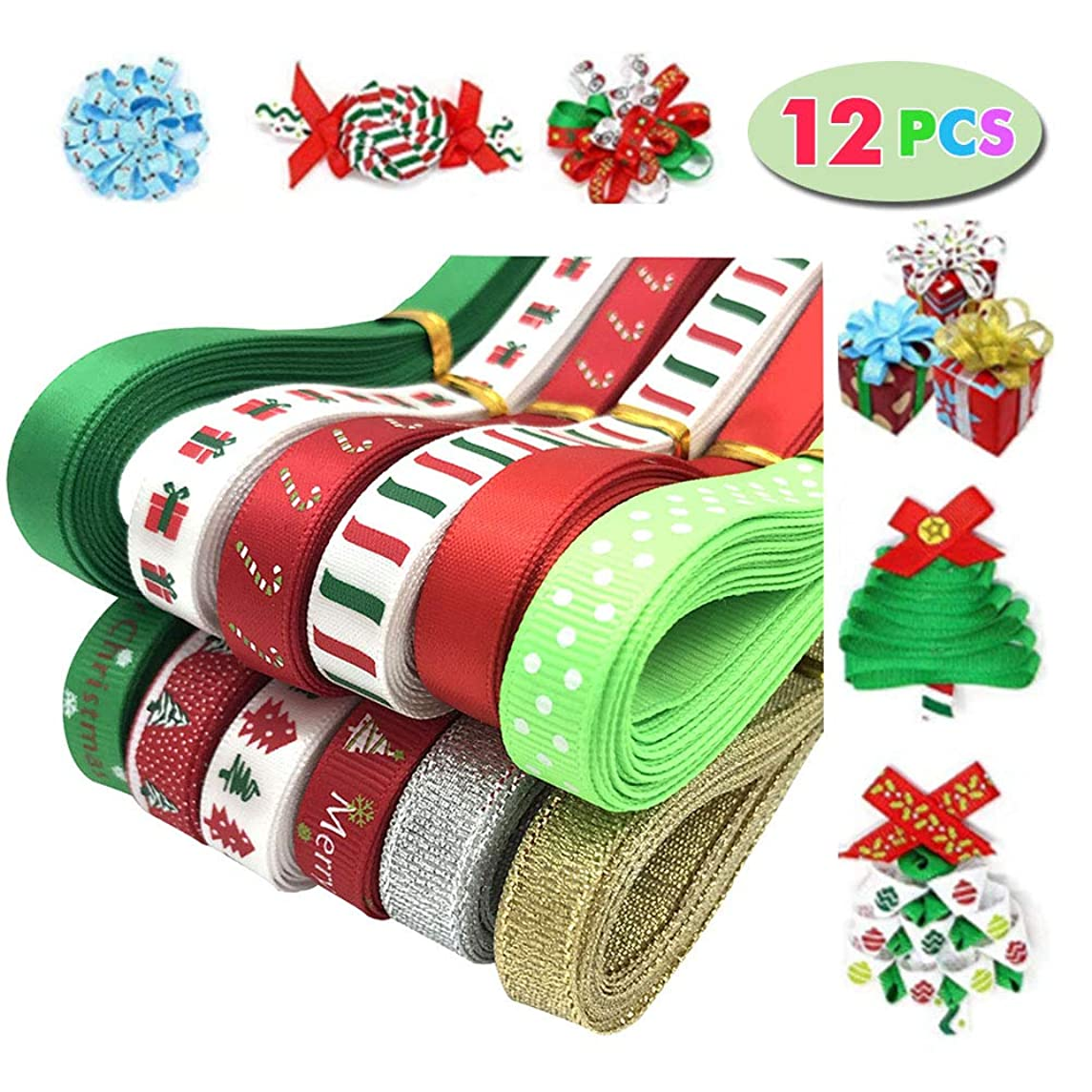 Yukoi Boutique Polka Dot Grosgrain Ribbons for Gifts Package Wrapping (Multicolored, 12PCS)