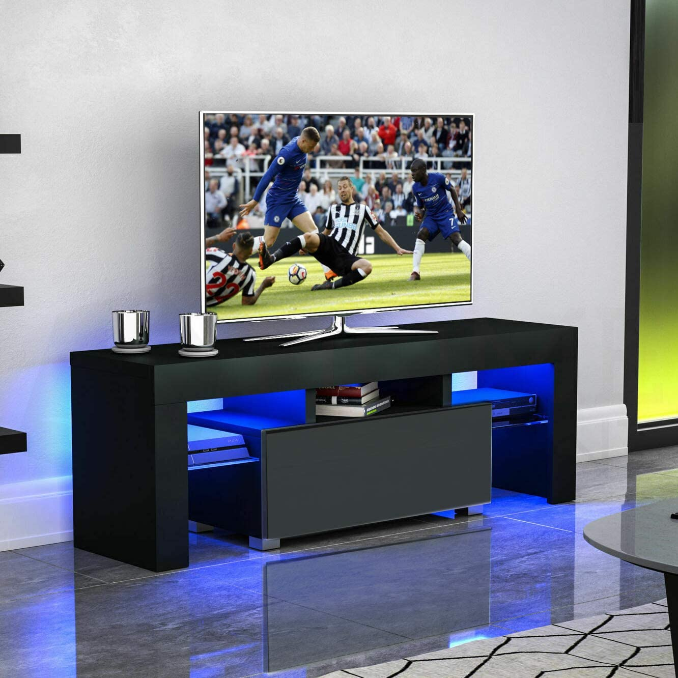 Mtfy Modern Simple Tv Stand With Led Television Stand Entertainment Center Console Table For Living Room For 51 Tv Black Furniture Decor