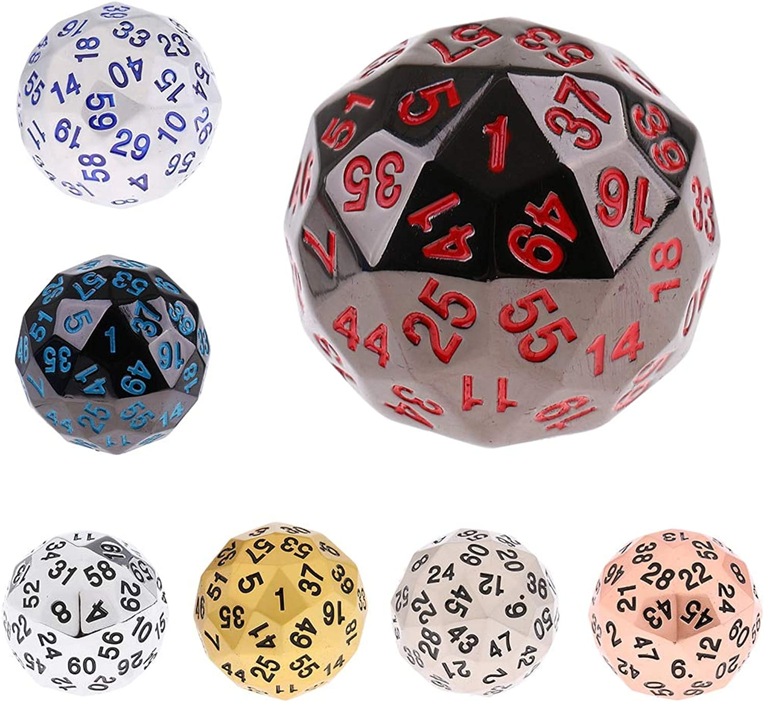 Sala-Fnt - 1 Pcs 38mm Alloy Polyhedral Dice 60 Sided D60 Die for D&D RPG Board Game w Bag Dungeons and Dragons MTG Gaming Supplies Gift