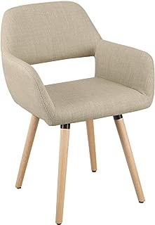 Joveco Modern Velvet Armrest Open Back Dining Chair Beige