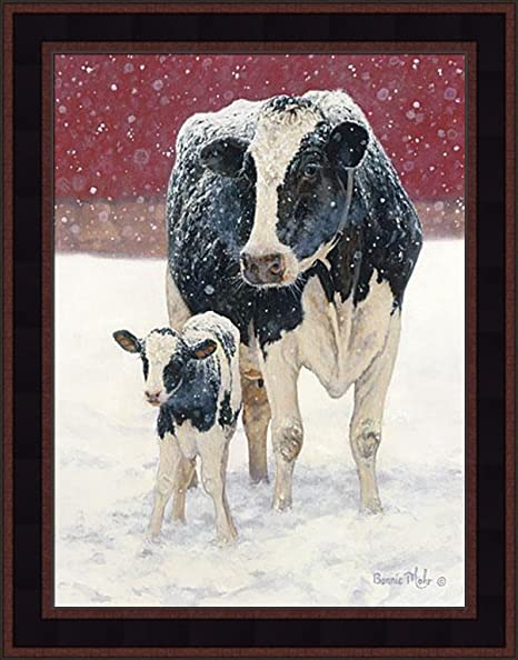 First Christmas By Bonnie Mohr 15x19 Farm Animals Cows Holstein Country Art Print Wall Décor Framed Picture Posters Prints