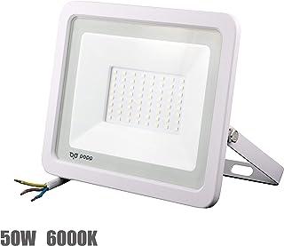 POPP® Foco Proyector LED 50W para uso Exterior Iluminación Decoración 6000K luz fria Impermeable IP65 Blanco transparente y Resistente al agua. (50)