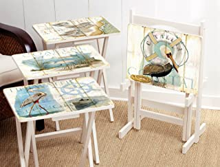 Cape Craftsmen Shore Birds TV Tray with Stand (Set of 4)