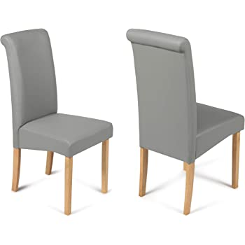 2 Dining Chairs Matt Grey Faux Leather Scroll Top Roma With Padded Seat & Oak Finish Legs
