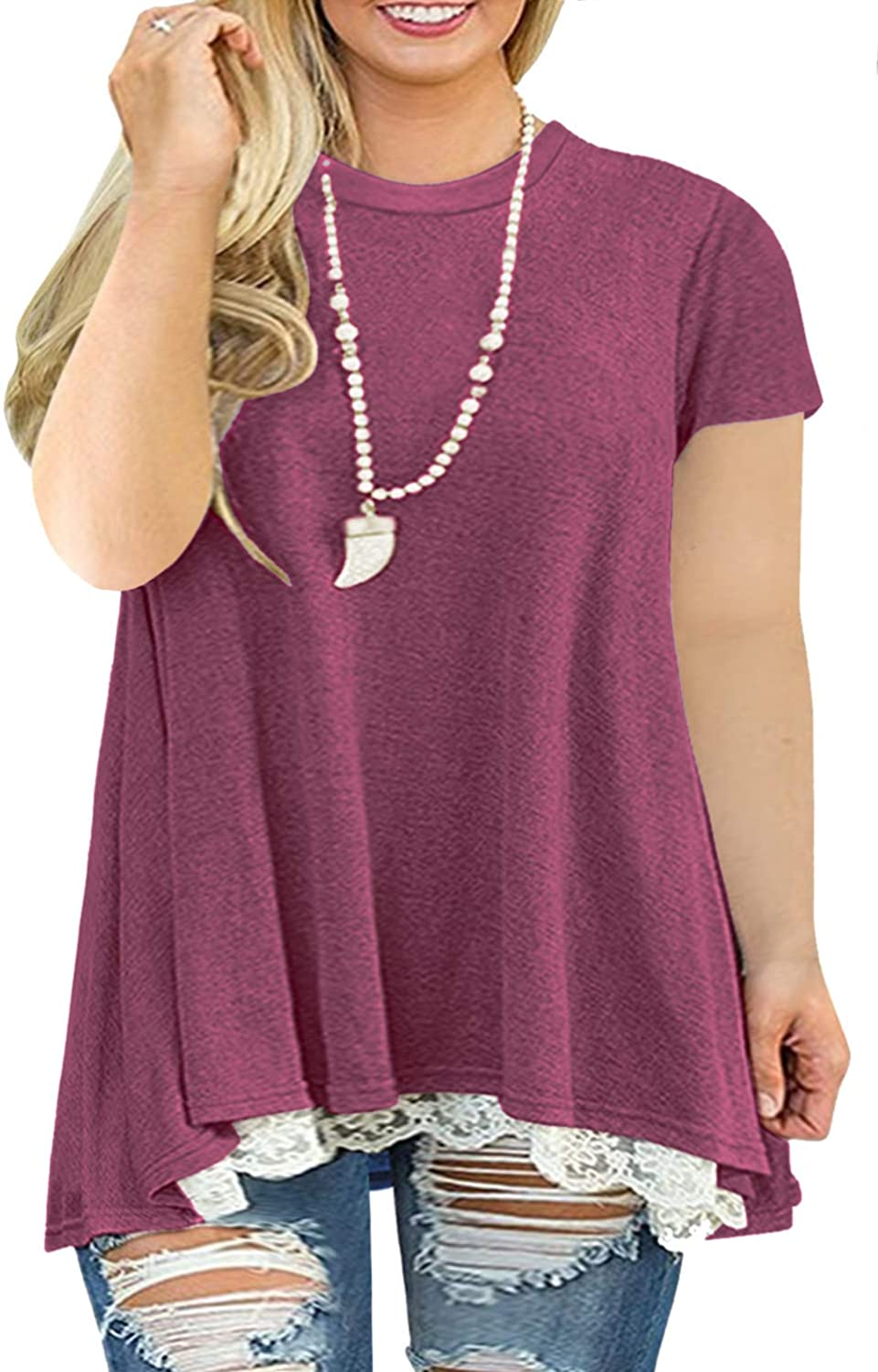AURISSY Womens Plus-Size Tops Summer Lace Shirts A-Line Short Sleeve Tunic