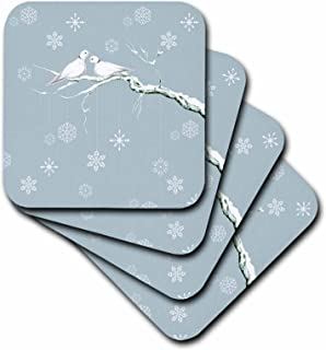 3dRose Two Turtle Doves and Pretty Snowflake Ornaments at Christmas - Soft Coasters, Set of 4 (CST_216708_1)