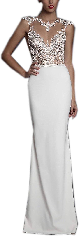 Heartgown Women's Sweetheart Backless Beaded Lace Mermaid Wedding Dress