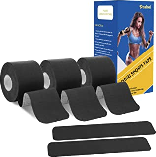 poshei Kinesiology Tape Precut, Elastic Therapeutic Sports Tape - Pain Relief Adhesive for Shoulder Knee Elbow Ankle, Waterproof, Breathable, Latex Free