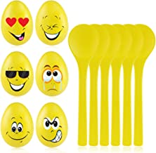 iBaseToy Egg and Spoon Race Game for Kids and Adults, 6Pcs Finest Wooden Spoons & 6Pcs Eggs for Fun Party Games, Birthday Games, Outdoor Game