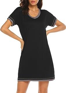 Ekouaer Women's Sleepwear Casual V Neck Nightshirt Short Sleeve Nightgown S-XXL