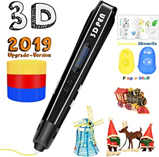 3D Printing Pen for Kids,Uvital 3D Drawing Doodle Printer Pen 【2019 Upgrade Version】Non-Clogging Bonus PLA Filaments Stencil eBook Best Gift for Children Adults Arts Crafts DIY Doodling(Black)