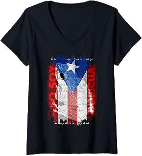 Womens Coqui Shirt, Yo Soy Boricua Puerto Rico Flag Shirt Cool Gift V-Neck T-Shirt