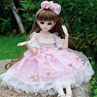 UCanaan BJD Doll, 1/3 SD Dolls 24 Inch 18 Ball Jointed Doll DIY Toys with Clothes Outfit Shoes Wig Hair Makeup, Best Gift for Girls - Emily