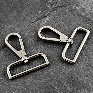 4-pcs Metal D Ring Swivel Lobster Clasps Clips for Handbag Straps, Belt Straps, Fashion Accessories, TR-11275 (Shiny Silver)
