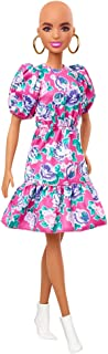 Barbie Fashionistas Doll #150 with No-Hair Look Wearing Pink Floral Dress, White Booties & Earrings, Toy for Kids 3 to 8 Y...