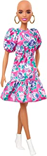 ▶دمية باربي فاشنيستا بدون شعر ترتدي فستان بلون زهري وتصميم مورد مع اقراط اذن وحذاء ابيض، للاطفال من عمر 3 الى 8 سنوات، متعددة