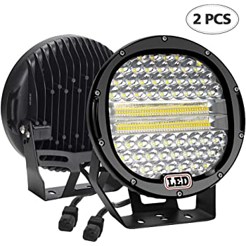 "7/"" 51W LED Light Bar 5100LM Round Spot Pods Light Road Driving Lights Beam Offroad Light Fog Bumper Roof Light for SUV ATV Truck Boat Tractor"