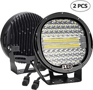 LED Light Bar,2PCS BEAMCORN 9 inch 384W Flood Spot Combo Led Round Driving Lights Headlamp Headlight Off Road Lights for Jeep Wrangler Truck SUV Tractor Trailer ATV 4X4 Black