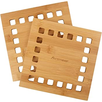 Natural Bamboo Trivet Mat Set,storage rack Anti-Hot Heat Resistant Pads for Hot Dishes//Pot//Bowl//Teapot//Hot Pot Holders 2 side.2 circle.1 storage rack. Garkup Bamboo Trivet - 6 pack