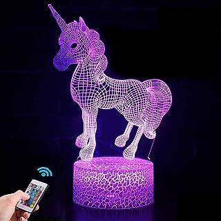 Regalo de Unicornio Luz de Noche para Niños, Lámpara de Luz 3D 7 Colores Cambian con Control Remoto, Ideas de Festivo y Regalos para Niños Niñas y Adultos (unicornio1)