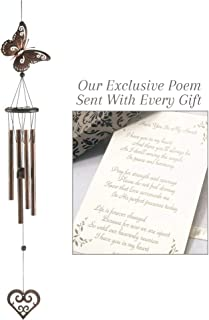 Comfort with Each Breeze I Have You in My Heart Metal and Wood Wind Chime for a Memorial Gift with Exclusive Poem and Card