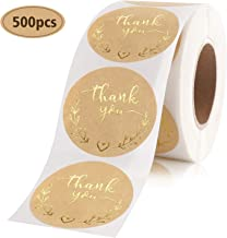 Jeaillu Thank You Sticker roll 1.5 inch Total 500 Kraft Paper Advanced Bronzing Process Adhesive Label Perfect for Envelope Sealing, Customer Appreciation, Wedding, Cake Decoration