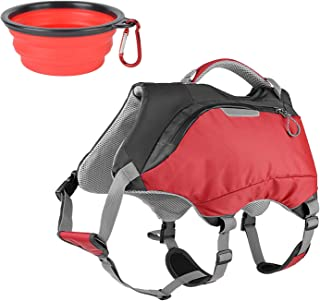 Ultrafun 2 in 1 Dog Life Jacket and Backpack Vest Harness Outdoor Hiking Dog Saddlebag with Collapsible Pet Bowl