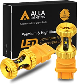 Alla Lighting 3156 3157 LED Bulbs 3000lm Extreme Super Bright Car Signal Reverse Stop Brake Tail Lights DRL T25 3057 3457 4157 4057, Amber Yellow