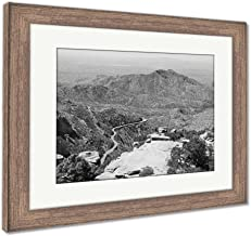Ashley Framed Prints View Towards Tucson of Winding Road from Windy Point On Mount Lemmon in Tucson, Wall Art Home Decoration, Black/White, 34x40 (Frame Size), Rustic Barn Wood Frame, AG6550048