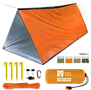 Bearhard Emergency Tent,2 Person Tube Tent Survival Shelter with Paracord,Stakes Ultralight Survival Tent Emergency Shelter Use as Survival Gear Space Blanket for Camping,Hiking,Kayaking
