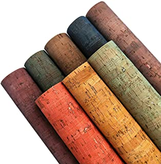 """ZAIONE Colored Real Cork Fabric Faux Leather Sheets 8pcs 8"""" x 12""""(20cm x 30cm) 0.7mm Thick Soft Stripe Canvas Fabric Backi..."""