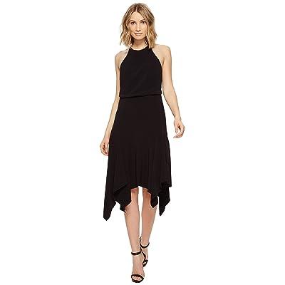 Halston Heritage Sleeveless Round Neck Flounce Skirt Dress w/ Back Straps (Black) Women
