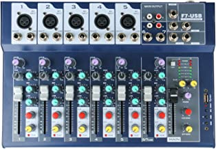 7-Channel Console Controller Mixer with Power Cord for Recording DJ Stage Karaoke Music