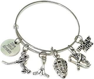 Hockey Bracelet, Hockey Jewelry, Hockey Mom Bracelet, Hockey Charm, Player Charm, Hockey Helmet Charm, Hockey Stick Charm, Gift for Hockey Fans, Sports Bracelet, Hockey Bangle Bracelet