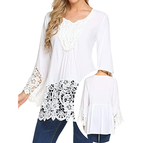 038066ddc83de Teewanna Women s Lace Splice Flare Sleeve Flowy Loose Peplum Boho Blouse  Tops Shirts S-2XL