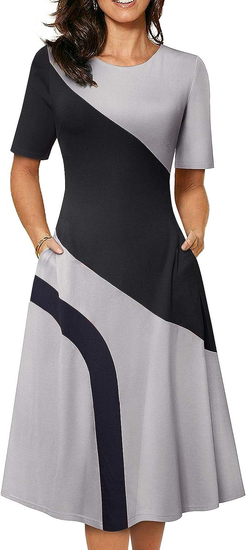 HOMEYEE Women's Women's Retro Vintage Patchwork Midi Dress with Pockets A239