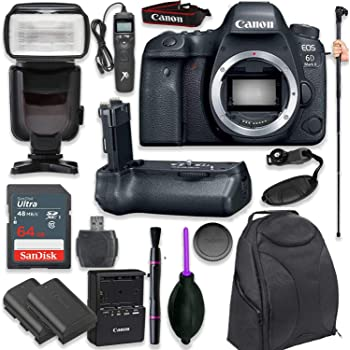 Canon EOS 6D Mark II Digital SLR Camera Body - Wi-Fi Enabled with Pro Camera Battery Grip, Professional TTL Flash, Deluxe Backpack, Universal Timer Remote Control, Spare LP-E6 Battery (16 Items)