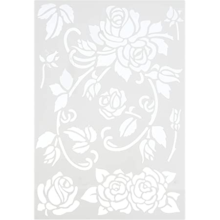 efco–Rose Stencil in 7Modelli, Plastica, Trasparente, Formato A5