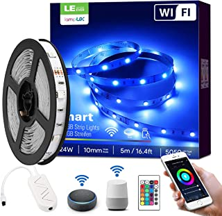 LE LampUX WiFi Smart LED Strip Lights with Remote Works with Alexa Google Home, 16.4ft RGB Color Changing, SMD 5050 LED Rope Light, Under Cabinet Strip Lighting, 12V Tape Light for Kitchen, Bedroom