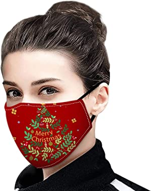 JYS Apparel 1PC Merry Christmas Face_Mask Reusable Washable Breathable Face_Masks for Adults Unisex Design Santa Claus for Xm
