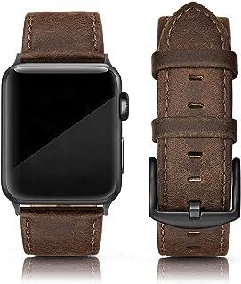 SWEES چرم باند سازگار با Apple Watch 42mm 44mm ، چرمی اصل چرمی بند بند بند بند iWatch سری 4 ، سری 3 ، سری 2 ، سری 1 ، مردان ورزشی و نسخه ای ، قهوه ای یکپارچهسازی با سیستمعامل