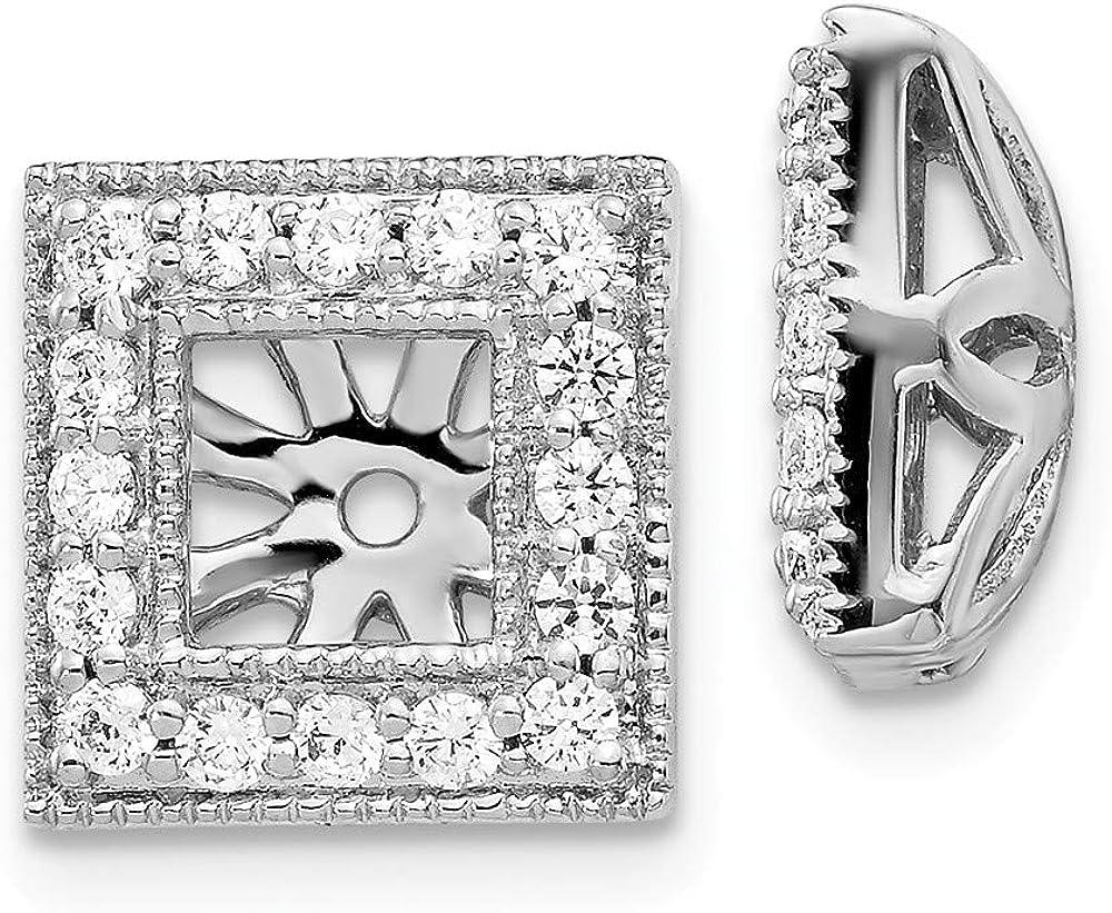 Affluent Rock 14k White Gold Diamond Square Jacket Earrings (0.43