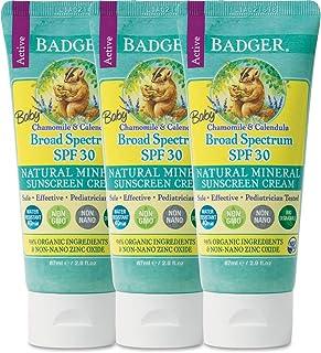 Badger Baby Sunscreen Cream SPF 30, 2.9 oz, 3 Pack