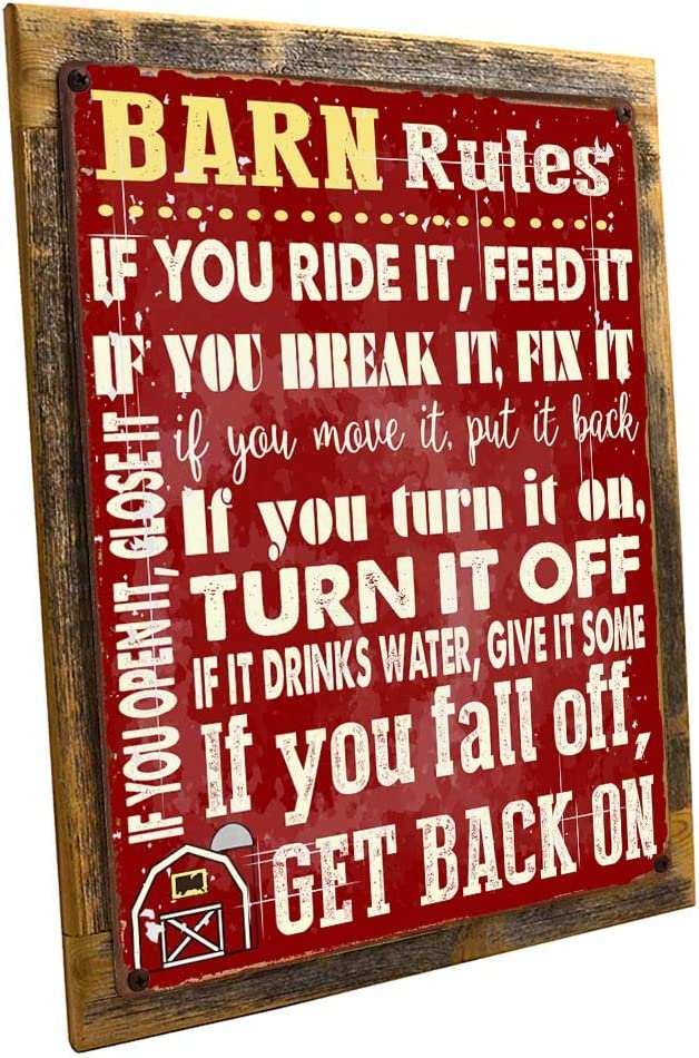 OMSC Wood-Framed Barn Rules Metal Sign, Stable, Rustic Décor,