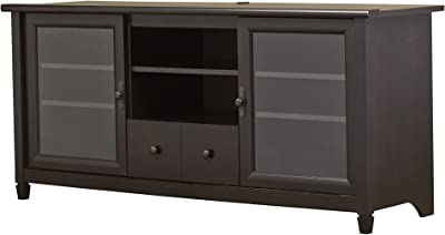 81818b4481f Estate Black TV Stand - Contemporary Entertainment Center With 2 Glass  Doors Cabinets For Media Storage