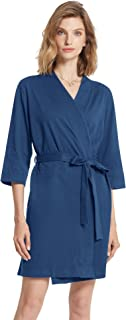 Women's Kimono Robes Cotton Lightweight Bath Robe Knit Bathrobe Soft Sleepwear V-Neck Ladies Nightwear
