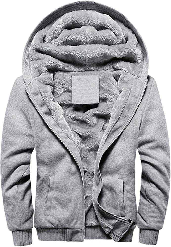 YAYUMI Mens Hoodie Winter Warm Fleece Zipper Sweater Jacket Outwear Coat Zip Pocket Baseball Uniform Gray