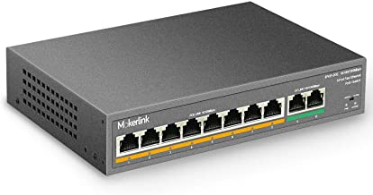 MokerLink 8 Port PoE Switch with 2 Gigabit Uplink, 802.3af/at PoE+ 100Mbps, 120W Built-in Power, Extend to 250Meter, Metal Plug & Play