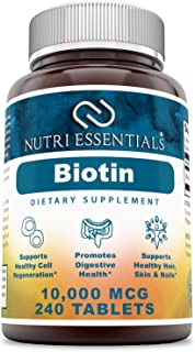 Nutri Essentials Biotin 10000 Mcg Tablets Dietary Supplements (Non-GMO, Gluten-Free) - Supports Healthy Cel...