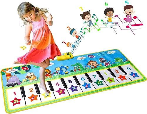 EXTSUD Tapis de Piano Tapis Musical Bébé 132x64cm Grand Tapis de Danse Tapis de Jeu Musical Instrument Touch Jeu Clav...